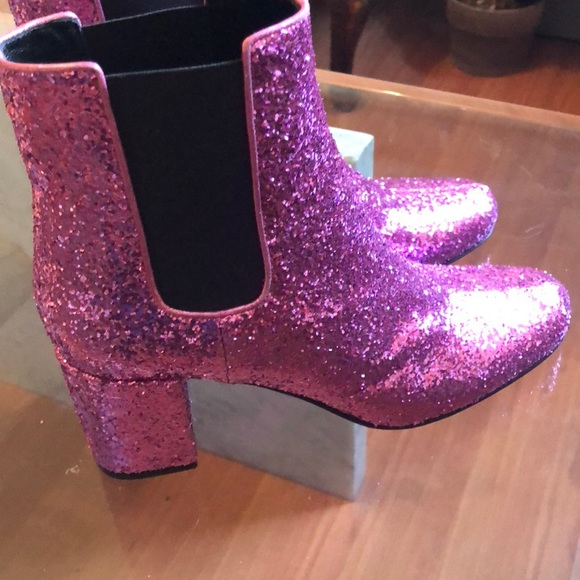 Wow Pink Glitter Sequin Ysl Booties